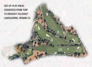 out-of-play areas converted from turf to drought-tolerant landscaping, virginia cc